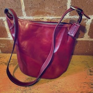 Latico NY  red leather deep stand alone bag